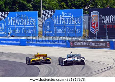 Milwaukee Wisconsin, USA - August 17, 2014: Verizon Indycar Series Indyfest ABC 250  race day on track action. 28 Ryan Hunter-Reay Fort Lauderdale, Fla. DHL Honda Andretti Autosport