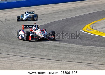 Milwaukee Wisconsin, USA - August 17, 2014: Verizon Indycar Series Indyfest ABC 250  race day on track action. 3 Helio Castroneves Sao Paulo, Brazil Hitachi Team Penske Chevrolet