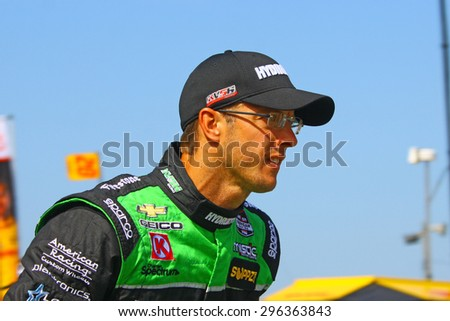 Milwaukee Wisconsin, USA - July 12, 2015: Verizon Indycar Series Indyfest ABC 250 at the Milwaukee Mile. Driver introductions before the race Sebastien Bourdais, race winner.