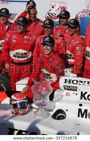 Milwaukee, Wisconsin USA - June 1, 2008 - IndyCar Racing League. Milwaukee Mile 2008. Race winner in victory circle. Ryan Briscoe, Australia - Penske Racing - stock photo