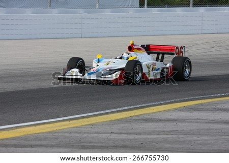 Milwaukee, Wisconsin USA - May 30, 2008 - IndyCar Racing League. Milwaukee Mile 2008. Friday practice session on track. 96 Mario Dominguez (R), Mexico - Pacific Coast Motorsports - stock photo