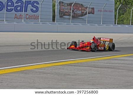 Milwaukee, Wisconsin USA - May 30, 2008 - IndyCar Racing League. Milwaukee Mile 2008. Friday practice session on track. Justin Wilson (R), United Kingdom - Newman/Haas/Lanigan Racing - stock photo
