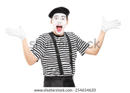 Mime artist gesturing joy with his hands isolated on white background - stock photo