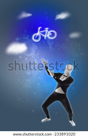 Mime presents bicycle