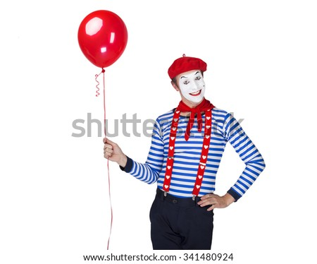 Mime with balloon.Emotional funny actor wearing sailor suit, red beret posing on white isolated background. - stock photo