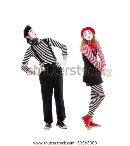 mimes in love posing against white background - stock photo