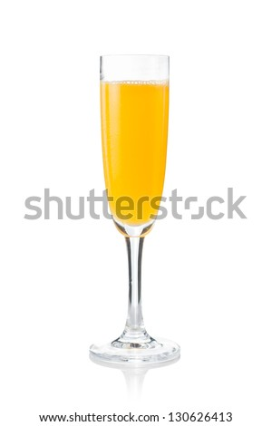 Mimosa cocktail prepared in the traditional way isolated