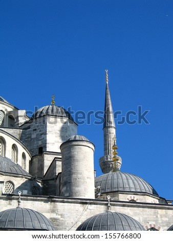 Minaret and domes of Blue mosque in Istanbul, Turkey - stock photo