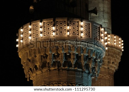 Minaret lights of the Blue Mosque, Istanbul - stock photo