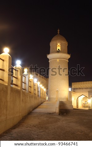 Minaret of a mosque in Doha, Qatar - stock photo
