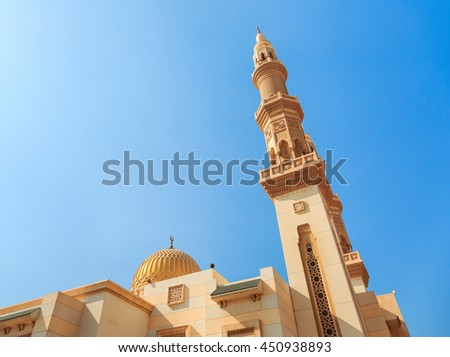 Minaret of a mosque in Sharjah, United Arab Emirates
