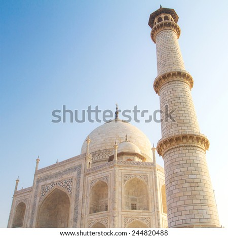 Minaret of Taj Mahal, Agra, Uttar Pradesh, India - stock photo