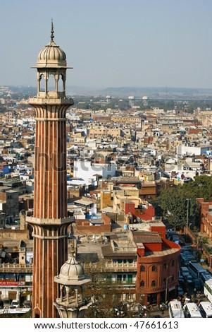 Minaret of the Jama Masjid Mosque in Old Delhi, India - stock photo