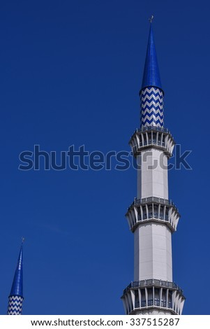 Minaret of the Sultan Salahuddin Abdul Aziz Shah Mosque is the state mosque of Selangor, Malaysia. It is known as Blue Mosque. Its construction finished in 1988. The Minaret height is 142.3m .