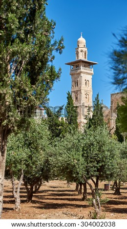 Minaret on the top of the Temple Mount in Jerusalem - stock photo