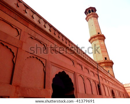 Minaret Section of famous Badshahi Mosque in lahore, Pakistan. - stock photo