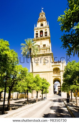 Minaret tower of Great Mosque from Patio de los Naranjos, Cordoba, Andalusia, Spain - stock photo