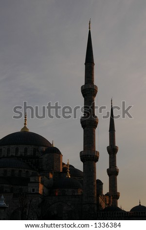 Minarets of the Blue Mosque in Istanbul, Turkey