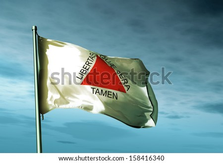Minas Gerais (Brazil) flag waving in the evening - stock photo