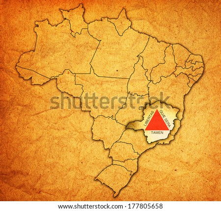 minas gerais state on administration map of brazil with flags - stock photo