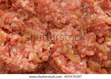 mince meat mixed with fried onion for hamburger patty image