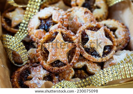 Mince pies in the box - stock photo