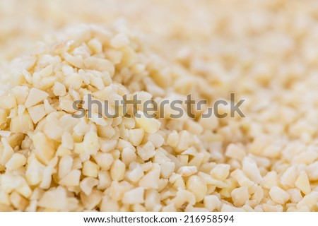 Minced Almonds (detailed close-up shot) for use as background image or as texture - stock photo