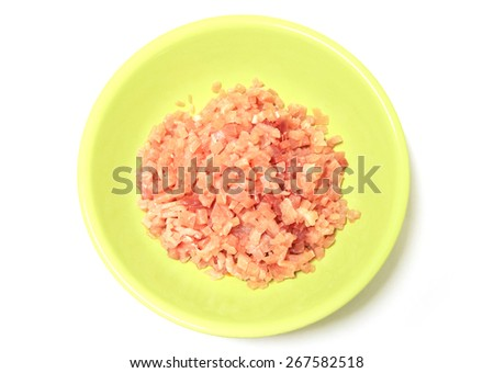 minced meat.,Minced Pork in plastic container on white background. - stock photo