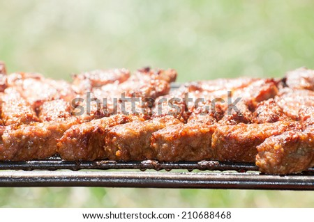 minced meat rolls on grill (traditional Romanian food)  mititei, mici - stock photo