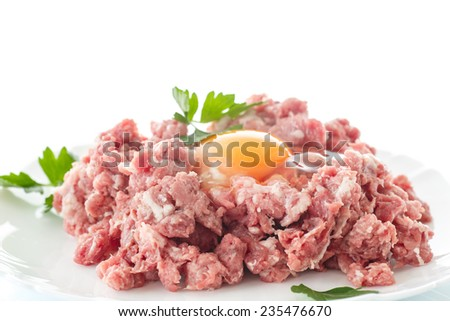 minced meat with an egg in a bowl on a white background - stock photo