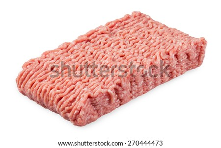 Minced pork and beef isolated on white background.