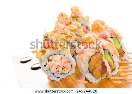 Minced salmon sushi maki  - stock photo
