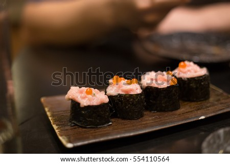Minced Toro Maki Sushi with ikura salmon roe