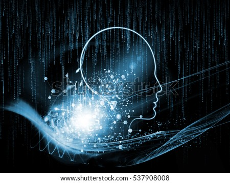 Mind Connection series. Arrangement of human profile and numbers on the subject of information technology, internet and artificial intelligence