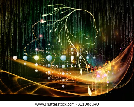 Mind Connection series. Background design of human profile, connections and numbers on the subject of information technology, internet and artificial intelligence - stock photo