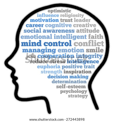 Mind control in words cloud - stock photo
