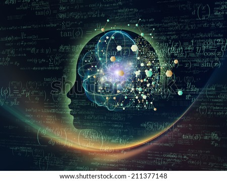 Mind Geometry series. Abstract design made of Human profile, math and design elements on the subject of reason, science, technology and education - stock photo