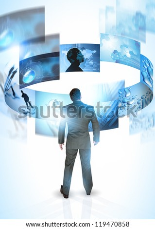 Mind on Business - A businessman with rotating images - stock photo