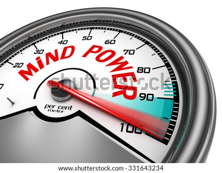 Mind power hundred per cent conceptual meter, isolated on white background - stock photo