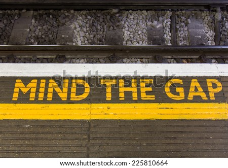 Mind the gap sign - stock photo