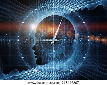 Mind Time series. Creative arrangement of Human profile, math and design elements to act as complimentary graphic for subject of time, science, technology and education