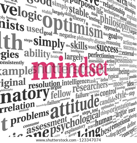 Mindset concept in word tag cloud on white - stock photo