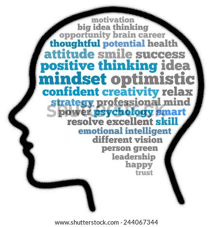 Mindset optimistic in word collage - stock photo