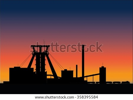Mine at the sunset - stock photo