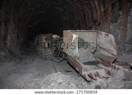 Mine machines in underground mines. Ukraine, Donetsk - stock photo