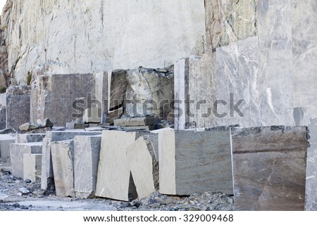Mine quarry , block of granite