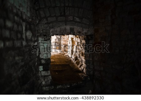 Mine Shaft with diminishing perspective - stock photo