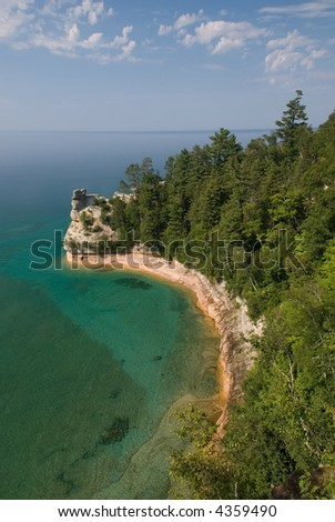 Miner's Castle in Pictured Rocks National Lakeshore - stock photo
