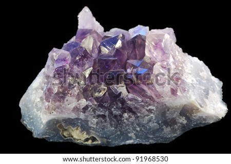 Mineral amethyst on black background.