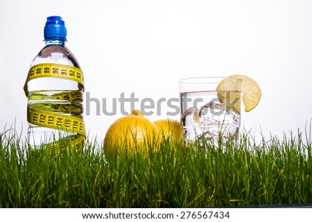 Mineral bottle and glass